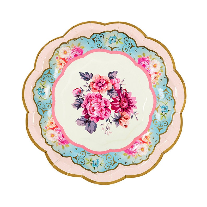 Tea Party Baby Shower Assorted 12 Floral Paper Plates Tea Party Paper Plates 7 Tea for Two Birthday Tea Party Bridal Shower