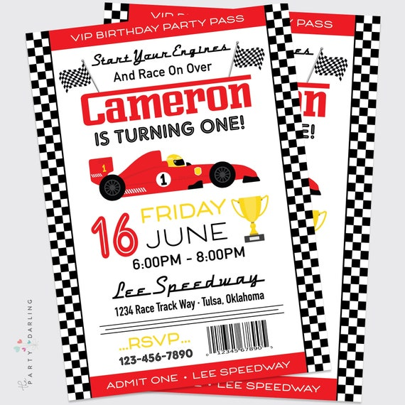 image about Printable Nascar Schedule named Race Motor vehicle Birthday Invitation Boys Raceway Birthday Celebration