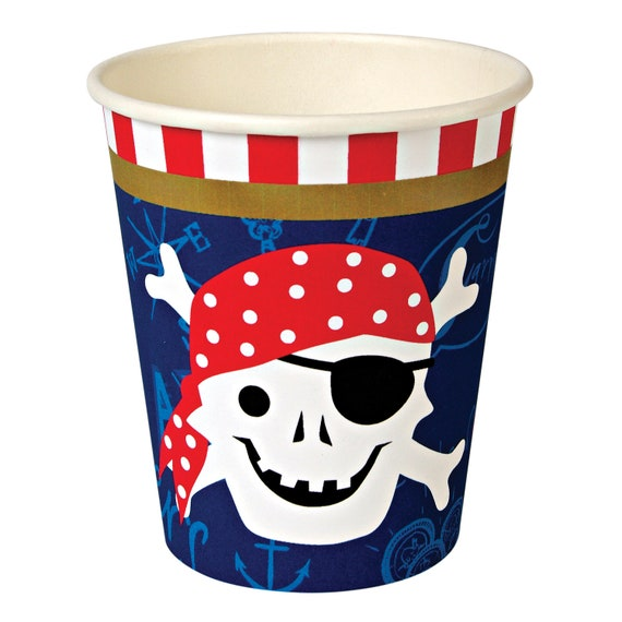 GIRLS PINK PIRATE PARTY 8 x 9oz paper cups