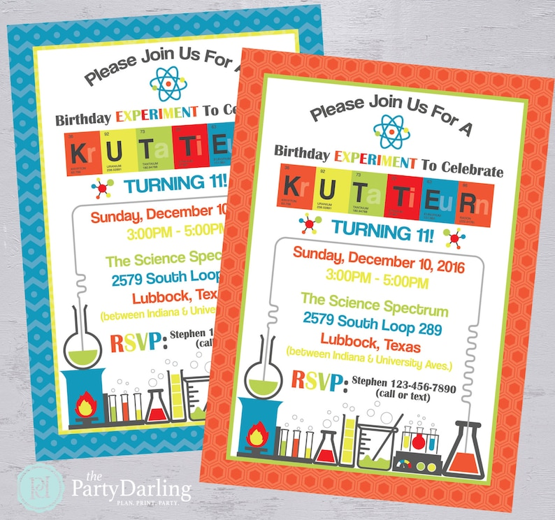 Science Party Invitation Mad Scientist Birthday Party Etsy