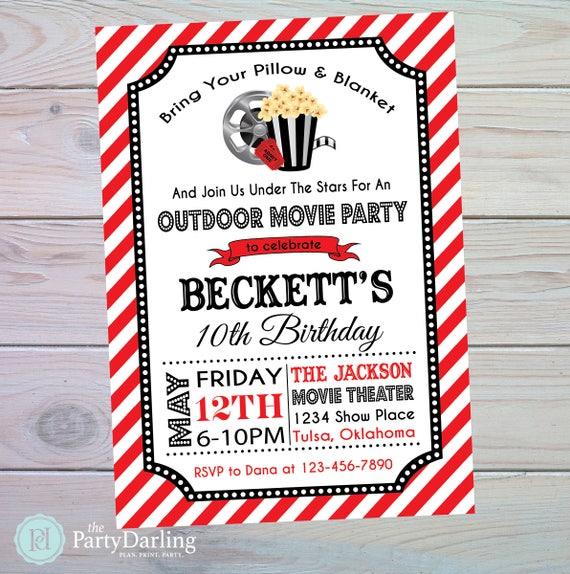 movie party invitation movie birthday invitation movie birthday