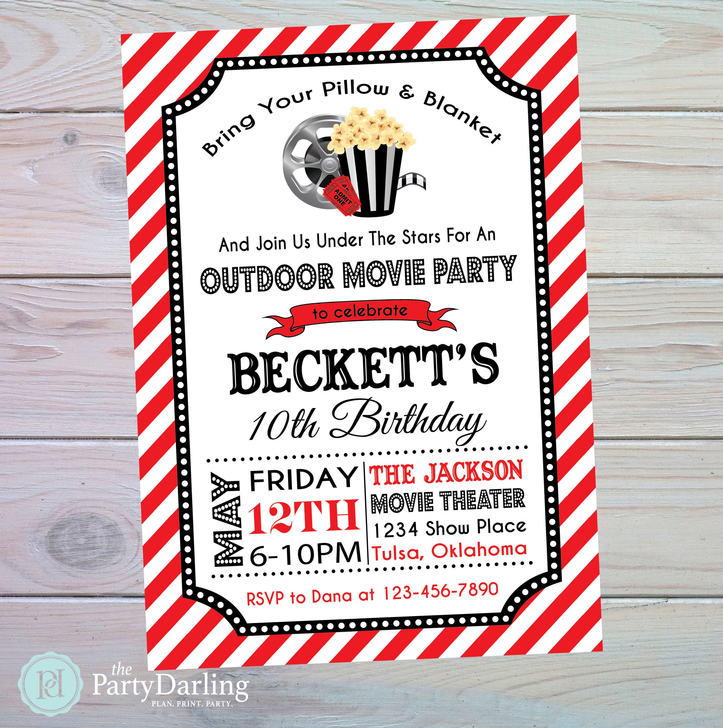 Movie Party Invitation Movie Birthday Invitation Movie | Etsy