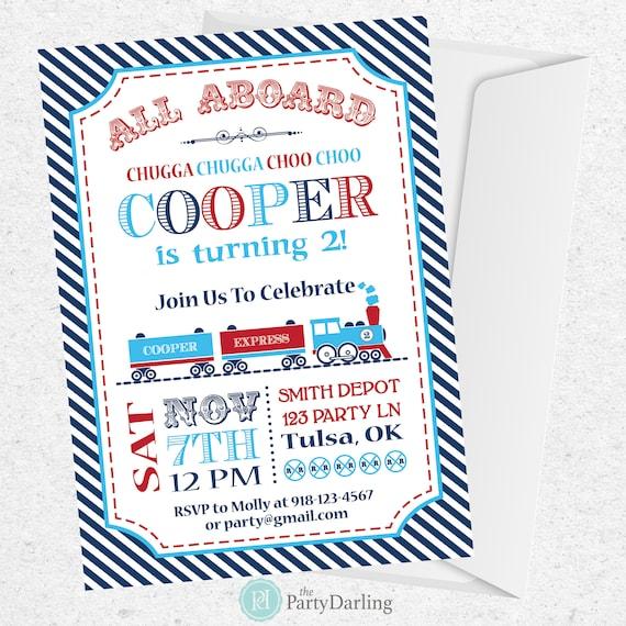 Train Birthday Invitation Party