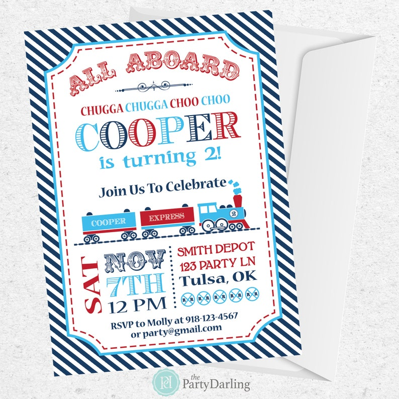Train Birthday Invitation Party