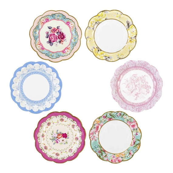Tea Party Bridal Shower Tea Party Paper Plates 7 Tea for Two Birthday Assorted 12 Floral Paper Plates Tea Party Baby Shower