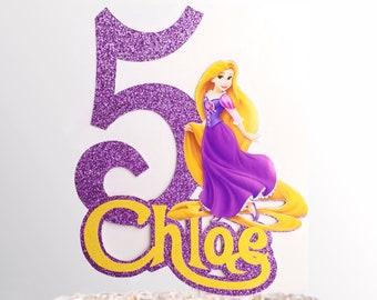 Rapunzel Personalized Cake Topper Custom Age Name Birthday Disney Tangled Princess AJP67