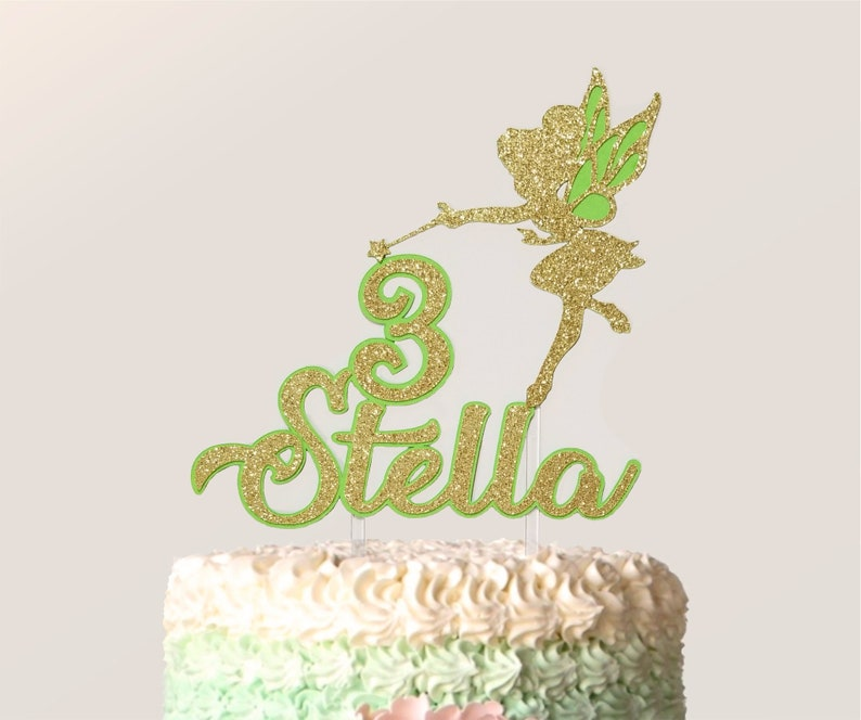Tinkerbell Birthday Cake Topper With Any Name And Age Glitter