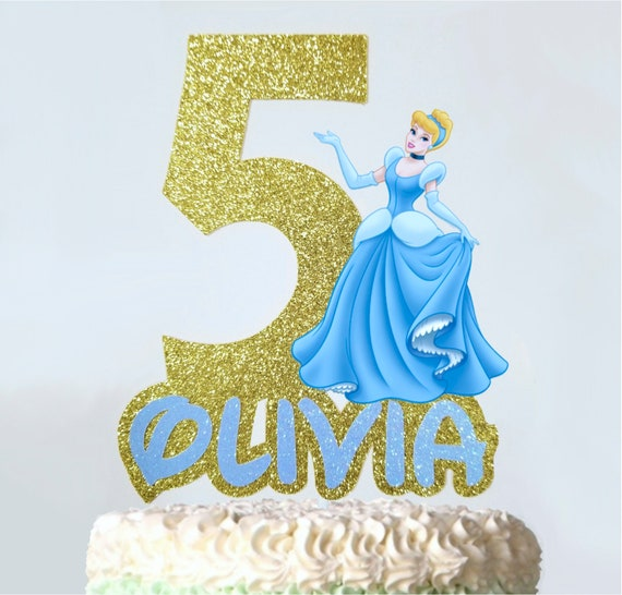 Magnificent Cinderella Cake Topper Custom Name And Age Birthday Cake Etsy Funny Birthday Cards Online Overcheapnameinfo