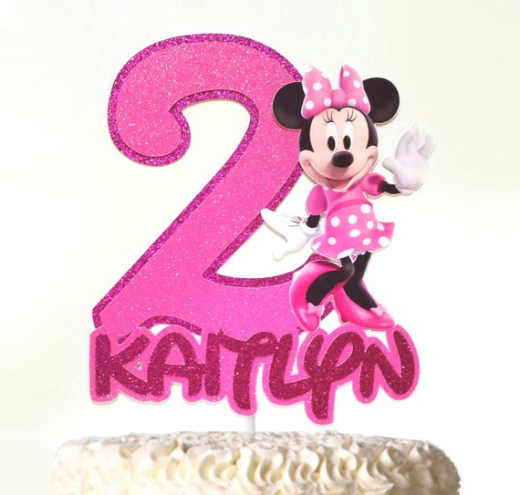 Superb Minnie Mouse Inspired Cake Topper Custom Age Birthday Topper Etsy Funny Birthday Cards Online Elaedamsfinfo