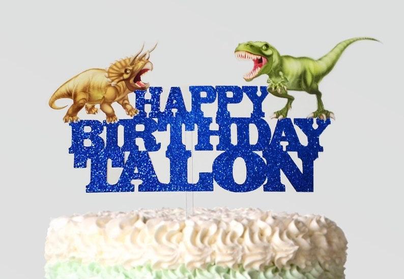Dinosaur Cake Topper T Rex Triceratops Dinosaurs Custom