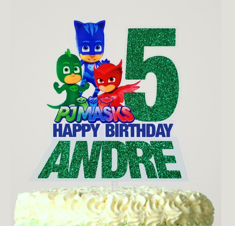 PJ Masks Birthday Cake Topper Personalized With Name And Age
