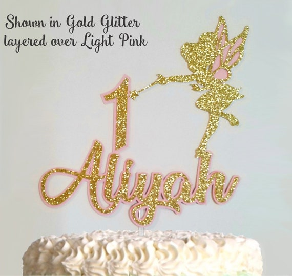 Brilliant Tinkerbell Birthday Cake Topper With Any Name And Age Glitter Etsy Funny Birthday Cards Online Alyptdamsfinfo