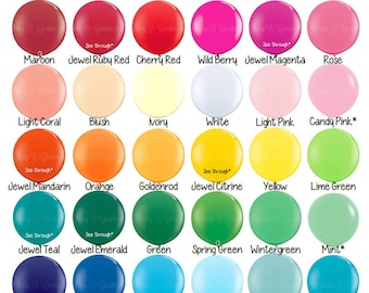 Giant Balloon - Round 36 Inch Latex Balloon by Qualatex - Solid Color - Order by Color Chart - Baby Shower, Birthday Party, Photo Shoot