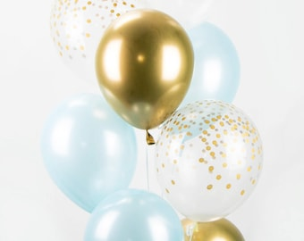 Blue and Gold Chrome Confetti Balloon Bouquet - Mix of 8 Latex Balloons in New Chrome Gold, Pearl Light Blue and Confetti-Printed Balloons