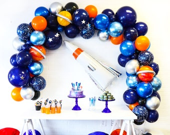 Astronaut Themed Balloon Garland Kit - Shades of Blues, Orange and Chrome Silver - Astronaut Balloon Arch - Space Themed Birthday Party