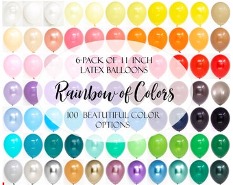 Latex Balloons - 6 Pack of 11 Inch Latex Balloons by Qualatex and others - 107 Color Choices - Order by Color Chart - Balloon Bouquets