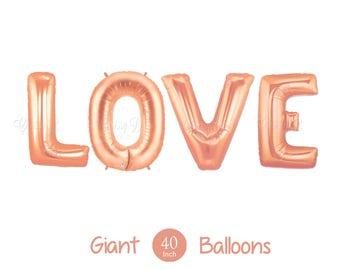 """Nouvel or Rose amour ballons - géant 40"""" pouces Or Rose Mylar ballons en lettres L-O-V-E - Valentin ballons, décorations de mariage"""