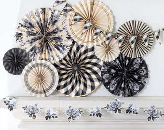 Black and White Gingham Party Fans - Black and White Party Fans - Paper Rosettes - Paper Fan Backdrop - Gingham Party Fans - Pack of 8