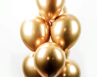 CHROME GOLD Balloon Bouquet - New from Qualatex - 8 Latex Balloons in Chrome Gold - Metallic Gold Balloons