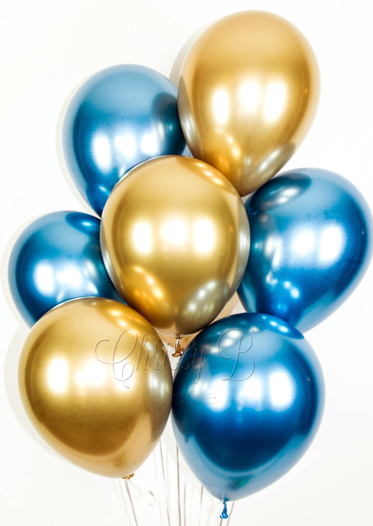 BLUE and GOLD Balloons Blue and Gold Chrome Balloon ...