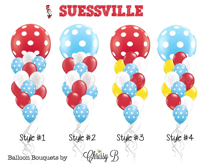 DR SEUSS Inspired Balloon Bouquet  Red White and Turquoise image 0