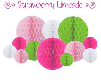 Lime Green and Hot Pink Honeycomb Tissue Balls - Set of 12 or Set of 9 Tissue Balls - (STRAWBERRY LIMEADE theme) - Party Decorations