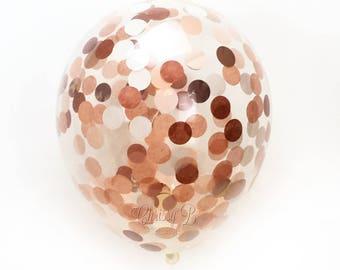 "Rose Gold Confetti Balloon  - Choose 11, 16, or 36 inch  - Rose Gold Copper Peach 1"" Circles of Tissue Confetti - Pre-Filled Balloon"