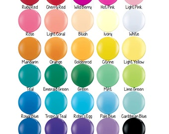 Giant Balloon - Round 36 Inch Latex Balloon by Qualatex - Solid Color - Order by Cholor Chart - Baby Shower, Birthday Party, Photo Shoot