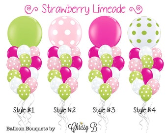 Hot Pink and Lime Green Giant Balloon Bouquet (STRAWBERRY LIMEADE Theme) Giant 36 Balloon Mixed w/ 12 Latex  - Hot Pink. Lime Polka Dots