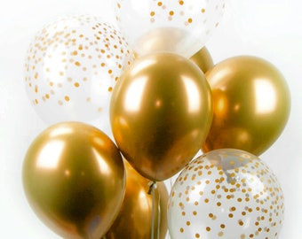 Gold Chrome Confetti Balloon Bouquet - Mix of 8 Latex Balloons in New Chrome Gold and Confetti-Printed Balloons - Confetti Balloons