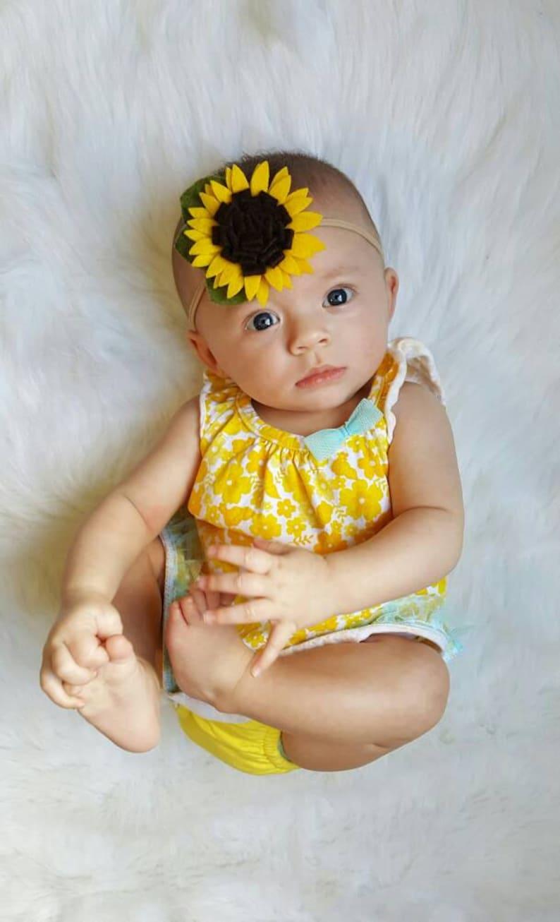 Flower Headband Fall Headband Felt Sunflower Headband Baby Headband Summer Headband Sunflower Headband Sunflower