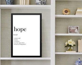 Hope Wall Art, Framed Typography Print, Modern