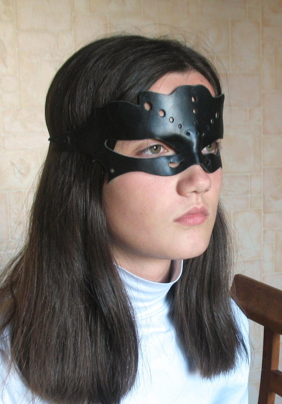 Black leather Women s masquerade mask Black leather mask  0a326a1f2