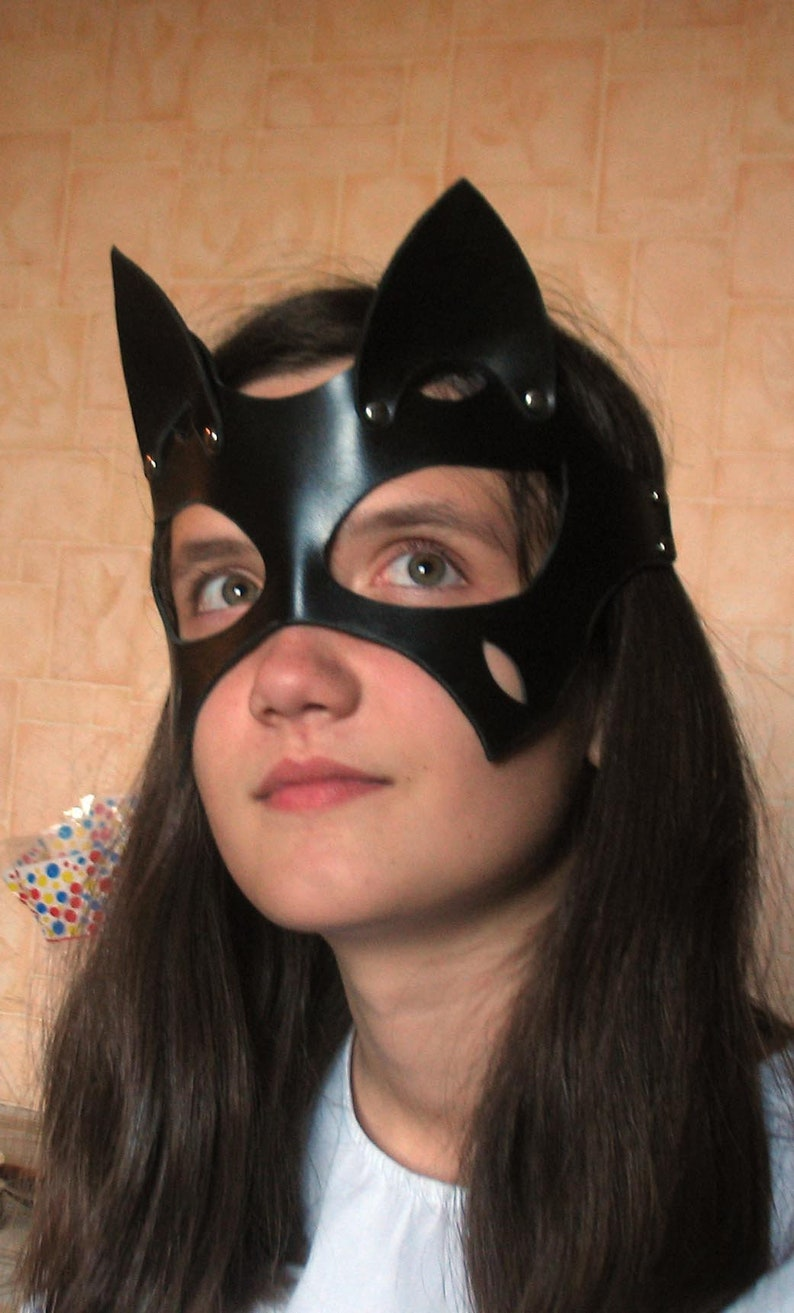 Women s leather cat mask Leather Mask Catwoman Kitty  8aaed5a55