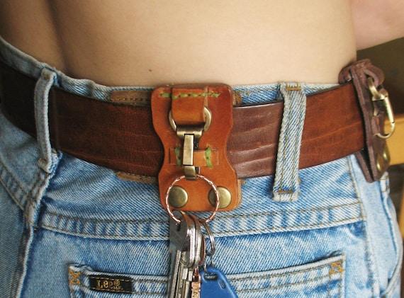 Leather key belt clip Belt keychain Key clip Belt key holder Leather belt key fob Leather keychain Leather holder
