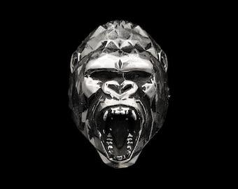 ROARING GORILLA RING, Sterling Silver Low Poly Geometric Gorilla Head Statement Ring, Men's Jewelry, Gift for him, King Kong Animal Totem