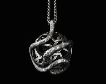 SNAKE PENDANT, Sterling Silver Round Serpent Necklace, Ornate Orb Sphere Pendant, Animal Totem, Unisex Jewelry, Snake Charm, Best Gift Ideas