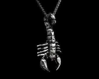 SCORPION PENDANT- Sterling Silver Low Poly Geometric Statement Necklace- Unisex Zodiac Sign Gift- Animal Totem Jewelry- Men's Pendant- VvILK