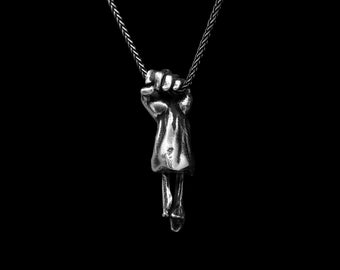 HUMAN HAND PENDANT- Sterling Silver 925 Anatomical Clenched Fist Statement Necklace- Unisex Power Necklace- Motorcycle Biker Jewelry- VvILK