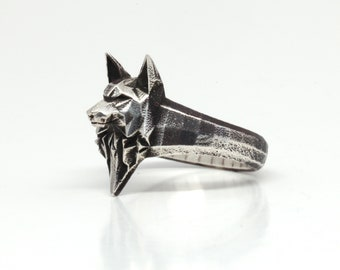 WOLF BANDS- Sterling Silver- Low Poly Geometric Wolf Head Ring- Animal Jewelry- VvILK