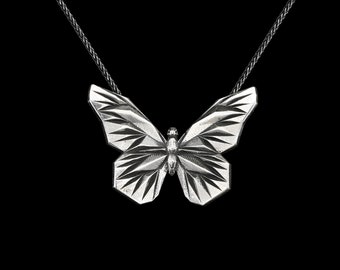 BUTTERFLY PENDANT, Sterling Silver 925 Low Poly Geometric Statement Necklace for Women, Animal Charm Necklace, Dainty Gift for her, VvILK