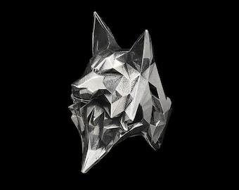 WOLF RING - Sterling Silver Geometric Wolf Head Ring- Large Statement Ring- Animal Totem- Spirit Animal- Men's Ring- Women's Ring- VvILK