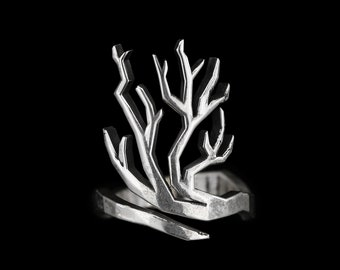 TREE BRANCH RING- Adjustable Sterling Silver Low Poly Geometric Ring- Unisex Nature Inspired Jewelry- Forest Twig Band- Gift for Her- VvILK