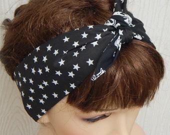 5f03dae763f5e3 Rockabilly 50er Jahre, die selbst binden Stirnband, Haar Schal, schwarze  und weiße Frauen Kopftuch binden, pin-up Frauen Kopf wickeln, gotische  Haarband
