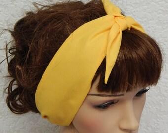 Yellow self tie headband retro hairband 50 s head wear pin up head scarf  rockabilly hair scarf vintage style head wrap 281fe8fa10a