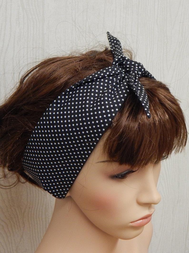 Blue and white polka dot hair scarf retro rockabilly 50/'s hair scarf wrap tie