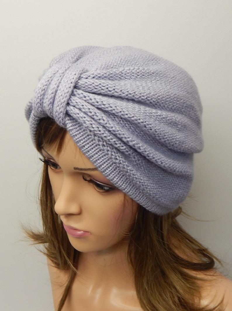 6422b96b88f Knitted turban hat women s hat winter turban knit retro