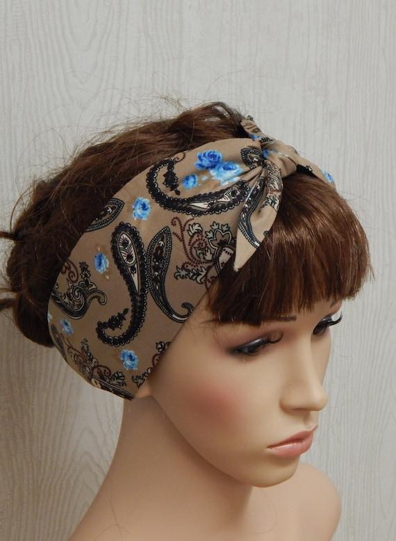 Self Tie Hairband Cotton Headband Retro Headbands Tie Up  57c42b01c28