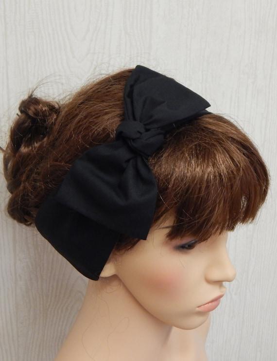 Black Retro Headband Self Tie Headbands Tie Up Head Wrap  814f6c228ef