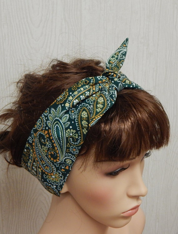 Dark Teal Rockabilly Head Wrap Pin up Headband Ladies Hair Tie Head Scarf